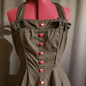 Hell Bunny Black Polka Dot Swing Dress L